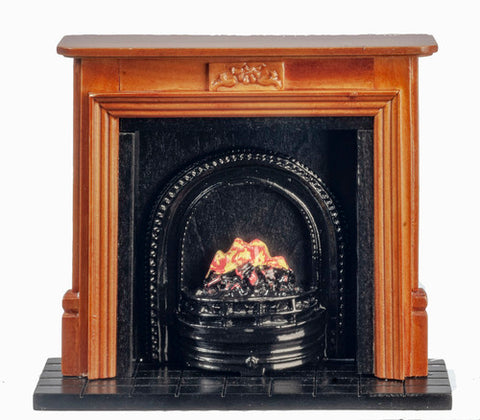Fireplace, with Coal Fire, Walnut