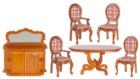 Dining Room Set, Walnut and Red Plaid