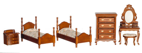 6 Piece Twin Bedroom Set, Walnut ON SPECIAL