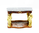 Console Table with Marble Top and Gilded Statues ON SALE