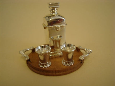 Taller Targioni Tray with Silver Decanter Set