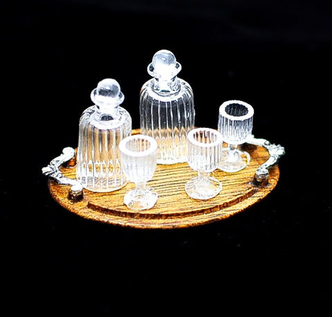 Tray of Crystal Decanters from Taller Targioni SOLD