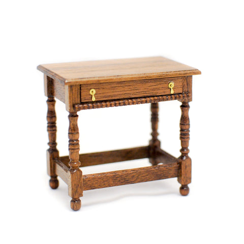 Thomas Wolfert Side Table With Drawer, Mahogany Finish