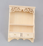 Wall Shelf with Fancy Trim and Two Drawers