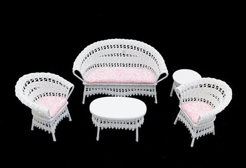 Five Piece White and Pink Wicker Set