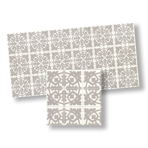 Mosaic Floor Tile, Beige and White Matte Finish