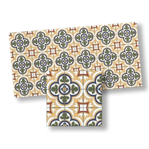 Mosaic Floor Tile, Blue, Green, Golden, Matte Finish
