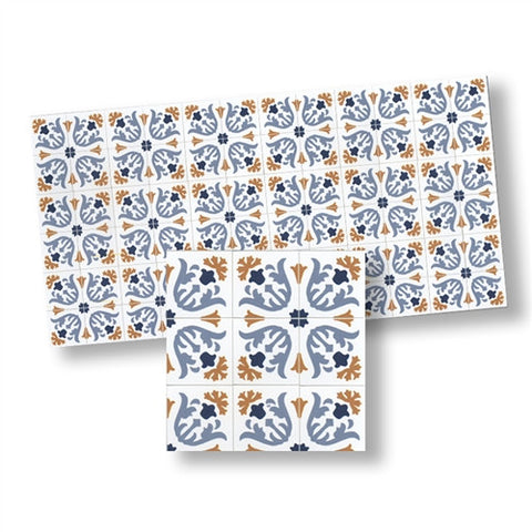 Mosaic Floor Tile Sheet, Blue and Gold