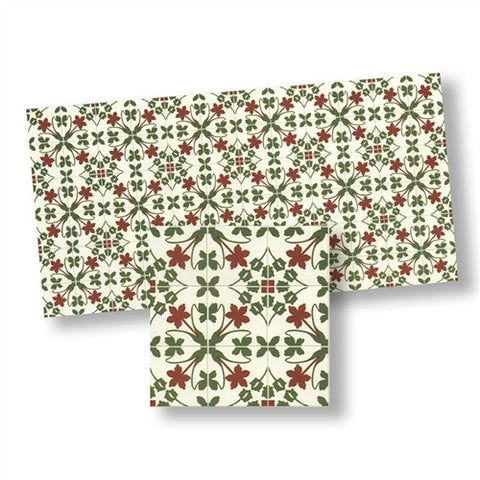 Mosaic Floor Tile Sheet, Green and Red