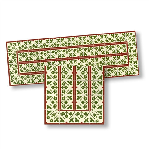 Mosaic Floor Tile Borders, Red and Green