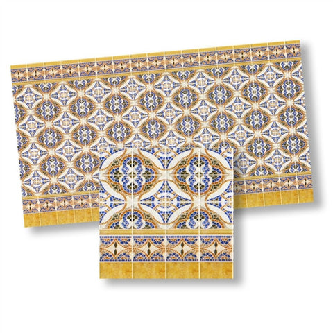 Mediteranean Wall Tiles Blues and Gold