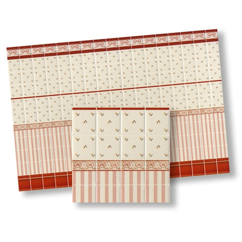 Wall Tile Pink/White Floral and Stripe