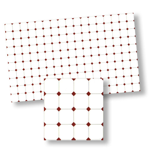 Tile, White with Red Diamonds