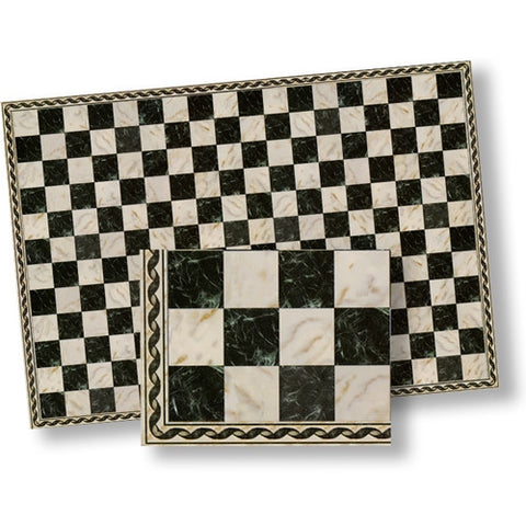 Marble Tile, White and Black Squares