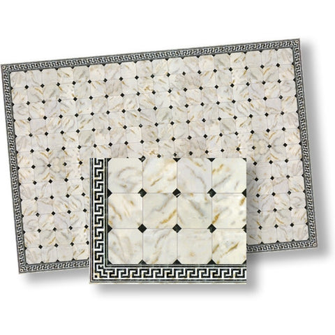 Marble Tile, White with Black Diamond Pattern