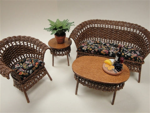 Wicker Set, Five Piece, Natural and Velvet