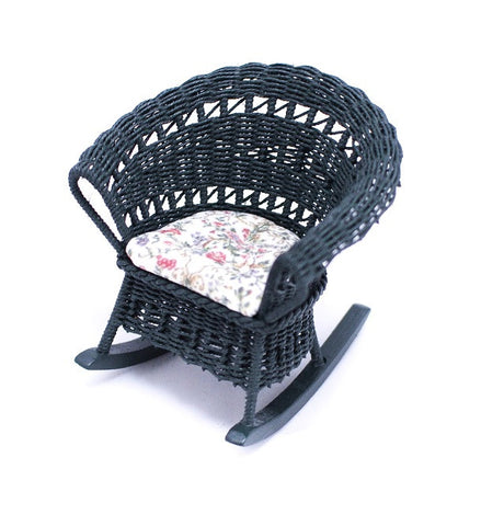 Wicker Rocking Chair, Green with Chintz