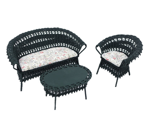 Wicker Furniture Set, Three Piece, Green