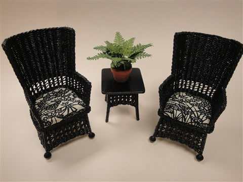 Mission Style Wicker, Black and White Three Piece