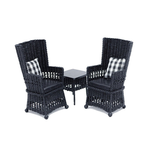 Mission Style Wicker Table and Two Chairs, Black