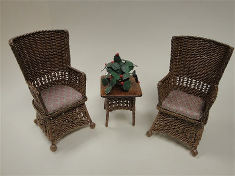 Mission Style Wicker Set, Natural, Three Piece