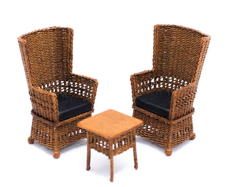 Three Piece Mission Style Wicker Set with Black Leather