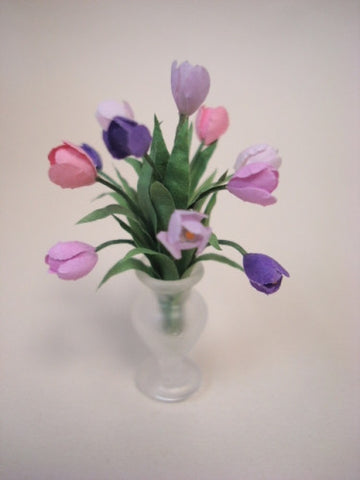 Tulips in Frosted Vase, Pink and Purple