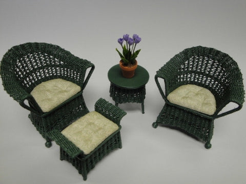 Wicker Chair Set, Green with Green