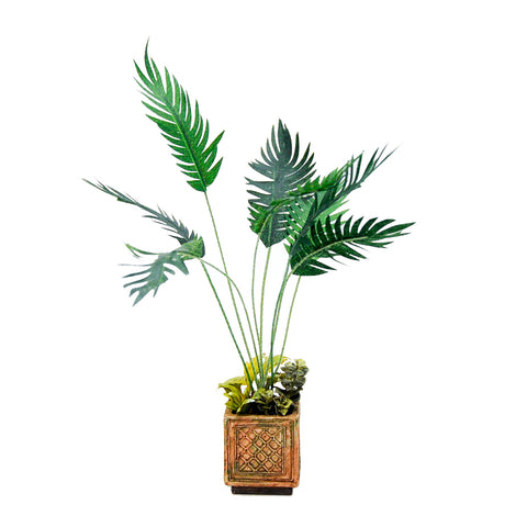 Palm Plant in Grey Box Planter
