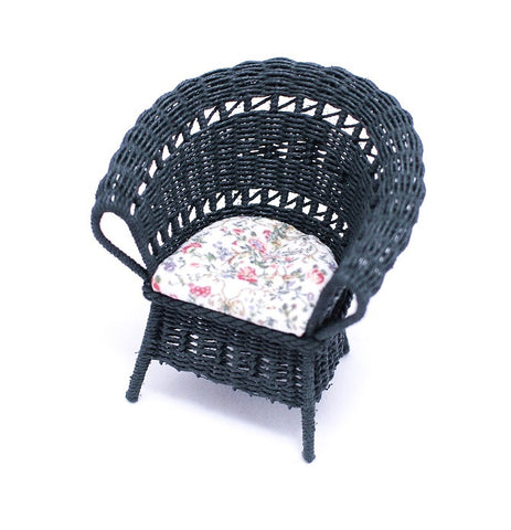 Wicker Chair, Green with Chintz