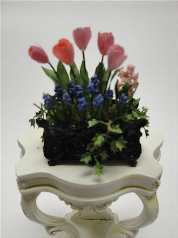 Small Black Planter with Spring Flowers