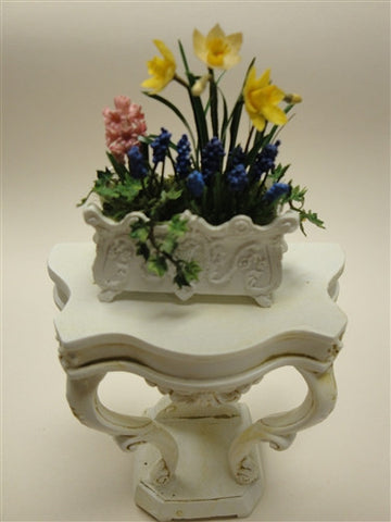Small White Planter with Spring Flowers