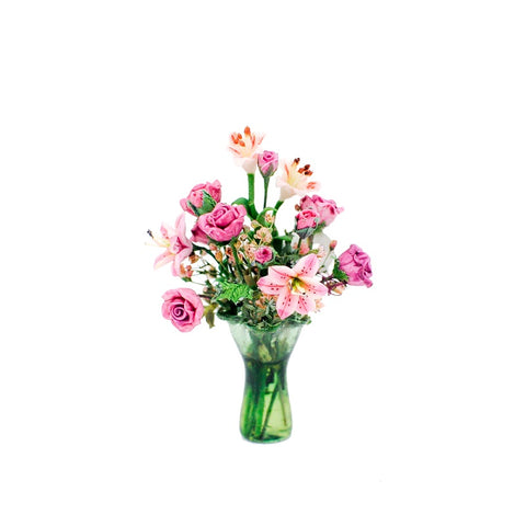 Green Vase with Pink Roses and Lillies