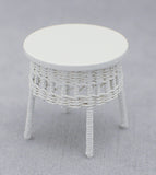 Wicker Set, Five Piece White with Lime Green