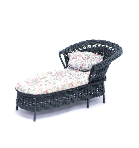 Wicker, Green with Floral Chintz Chaise