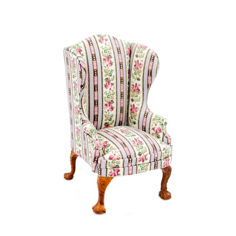 Wing Chair, Pink Chintz