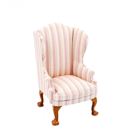 Wing Chair, Pink and White Stripe
