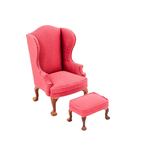 Wing Chair and Ottoman, Red