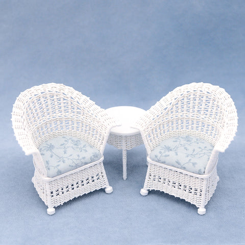 Three Piece Wicker Set, White with Soft Teal Tones