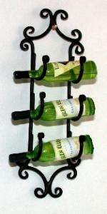 Wall Wine Rack with Three Bottles