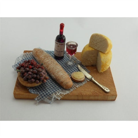 Wine and Cheese Board with Wheat Bread