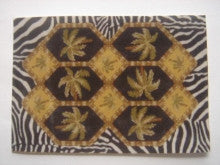 Area Rug with Palm and Zebra Print