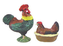 Hen and Rooster Banty, Painted