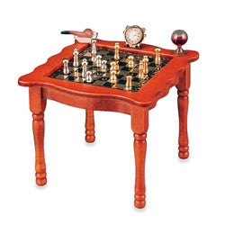 Chess Table with Metal Pieces