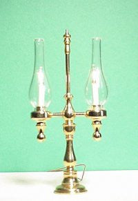 2 Arm Candelabra with Glass Chimneys