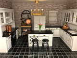 Kitchen Island with Wine Rack, White with Black