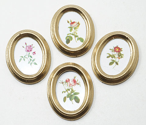 Framed Oval Roses, 4 pcs