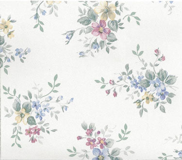 Blue, Rose, Yellow Flowers Prepasted Wallpaper