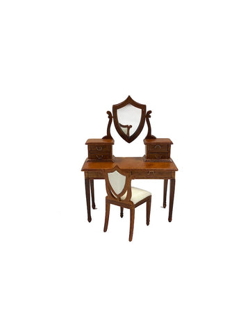 Vanity with Shield Mirror & Chair