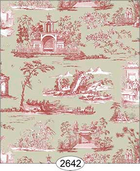 Wallpaper Rose Hill Toile Red on Khaki